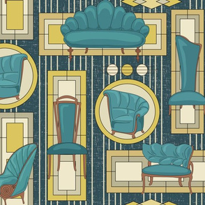 Art Deco Panels and Chairs - Teal