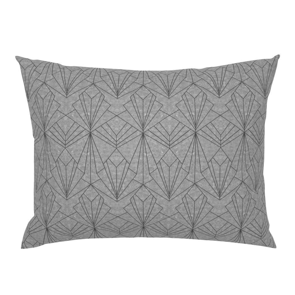Campine Pillow Sham featuring Art Deco on Scratched Grey by thewellingtonboot