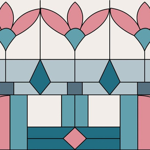 Art Deco Stained Glass Window/Coral and Jade