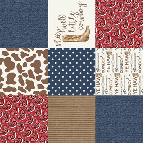 Western/Sleep Well Little Cowboy - Wholecloth Cheater Quilt - Rotated