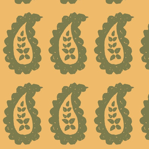 Paisley Stamped Fabric Gold Olive