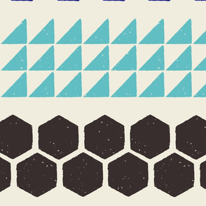 Blockprint Stripe of Many Patterns