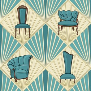 Art Deco Chairs - Small - Turquoise