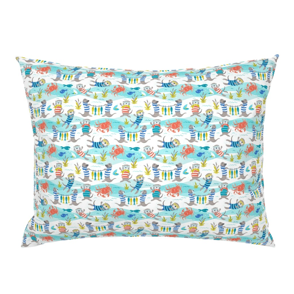 Campine Pillow Sham featuring Otterly Fun - Summer Nautical Small Scale by heatherdutton