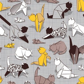 Small scale // Origami kitten friends // grey linen texture background with sunglow yellow paper cats