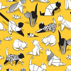 Small scale // Origami kitten friends // sunglow yellow background paper cats