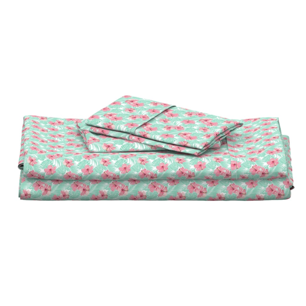 Langshan Full Bed Set featuring Hibiscus Tropical Flowers Floral on Teal Smaller by furbuddy