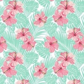 Hibiscus Tropical Flowers Floral on Teal Smaller
