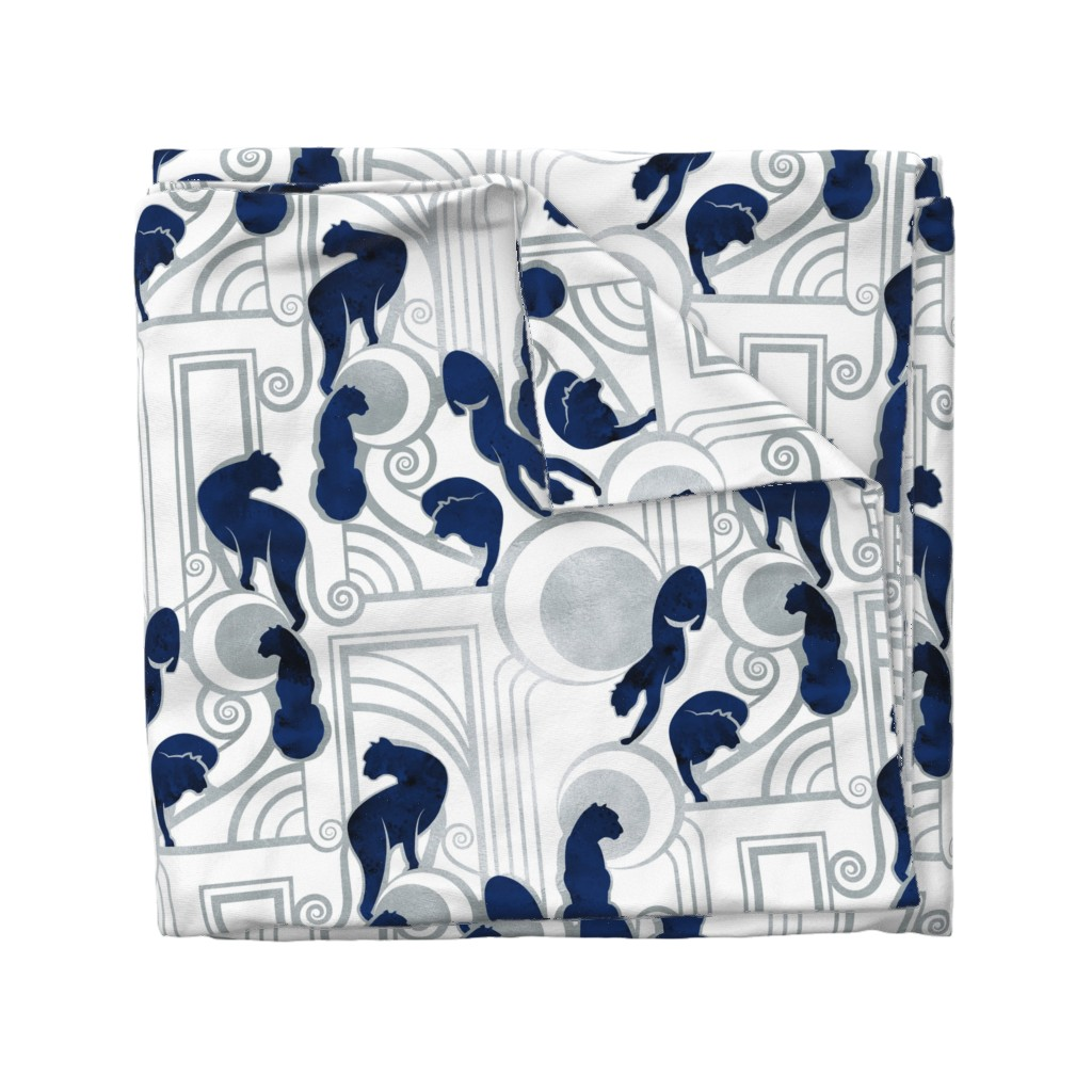 Wyandotte Duvet Cover featuring Deco Gatsby Panthers // large jumbo scale // navy white and silver by selmacardoso
