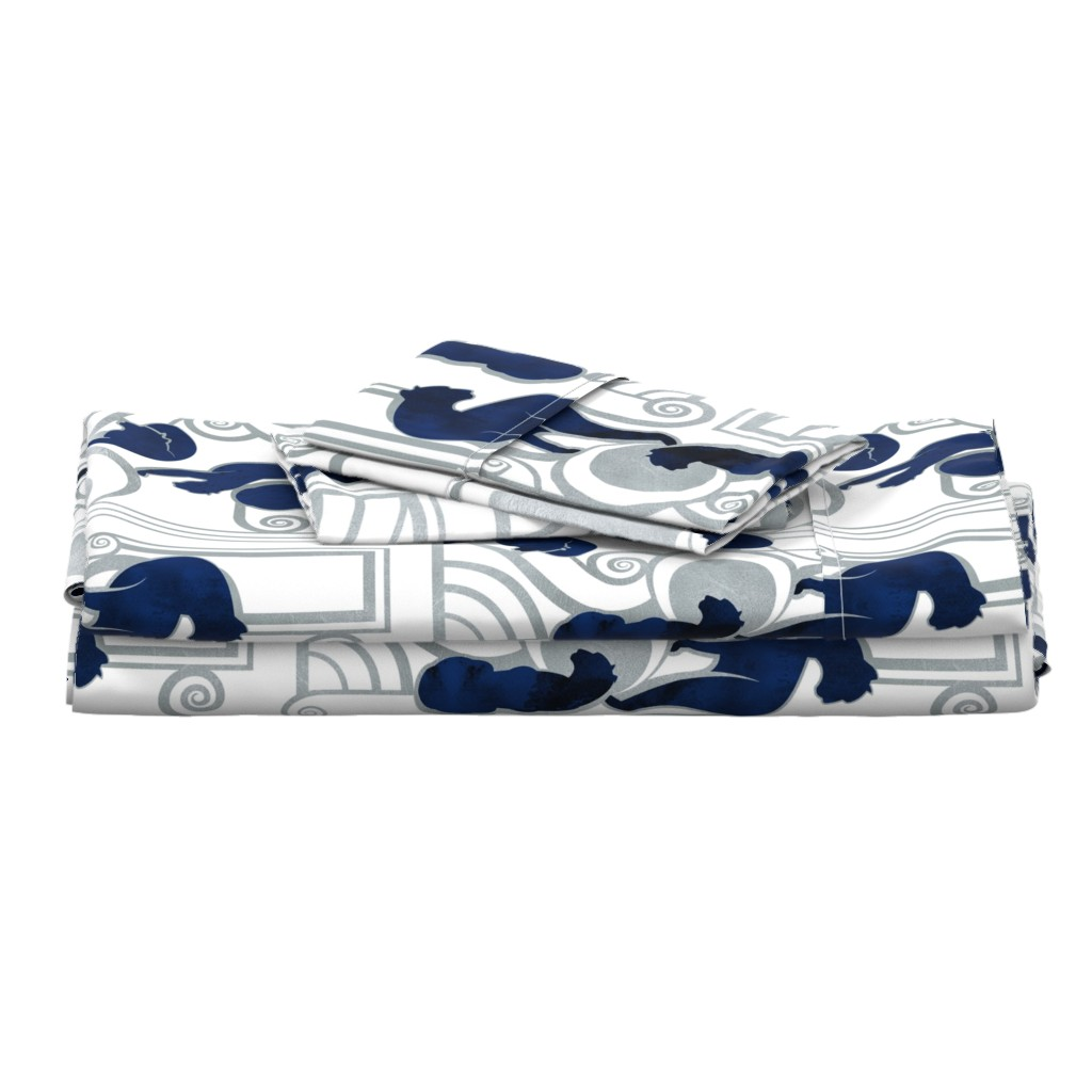 Langshan Full Bed Set featuring Deco Gatsby Panthers // large jumbo scale // navy white and silver by selmacardoso