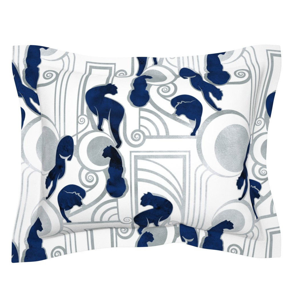 Sebright Pillow Sham featuring Deco Gatsby Panthers // large jumbo scale // navy white and silver by selmacardoso