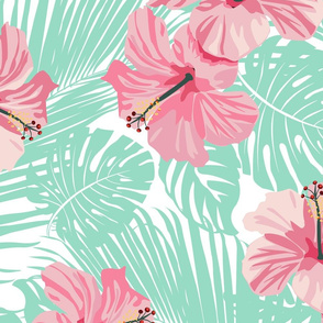 Hibiscus Tropical Flowers Floral on Teal
