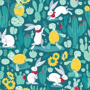 The tortoise and the hare // turquoise green background