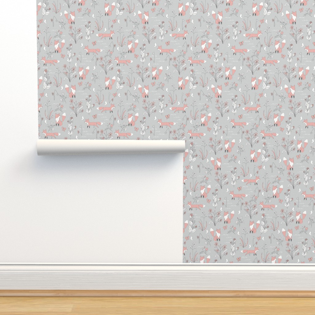 Isobar Durable Wallpaper featuring Fox and Flora - Small Scale by papercanoefabricshop