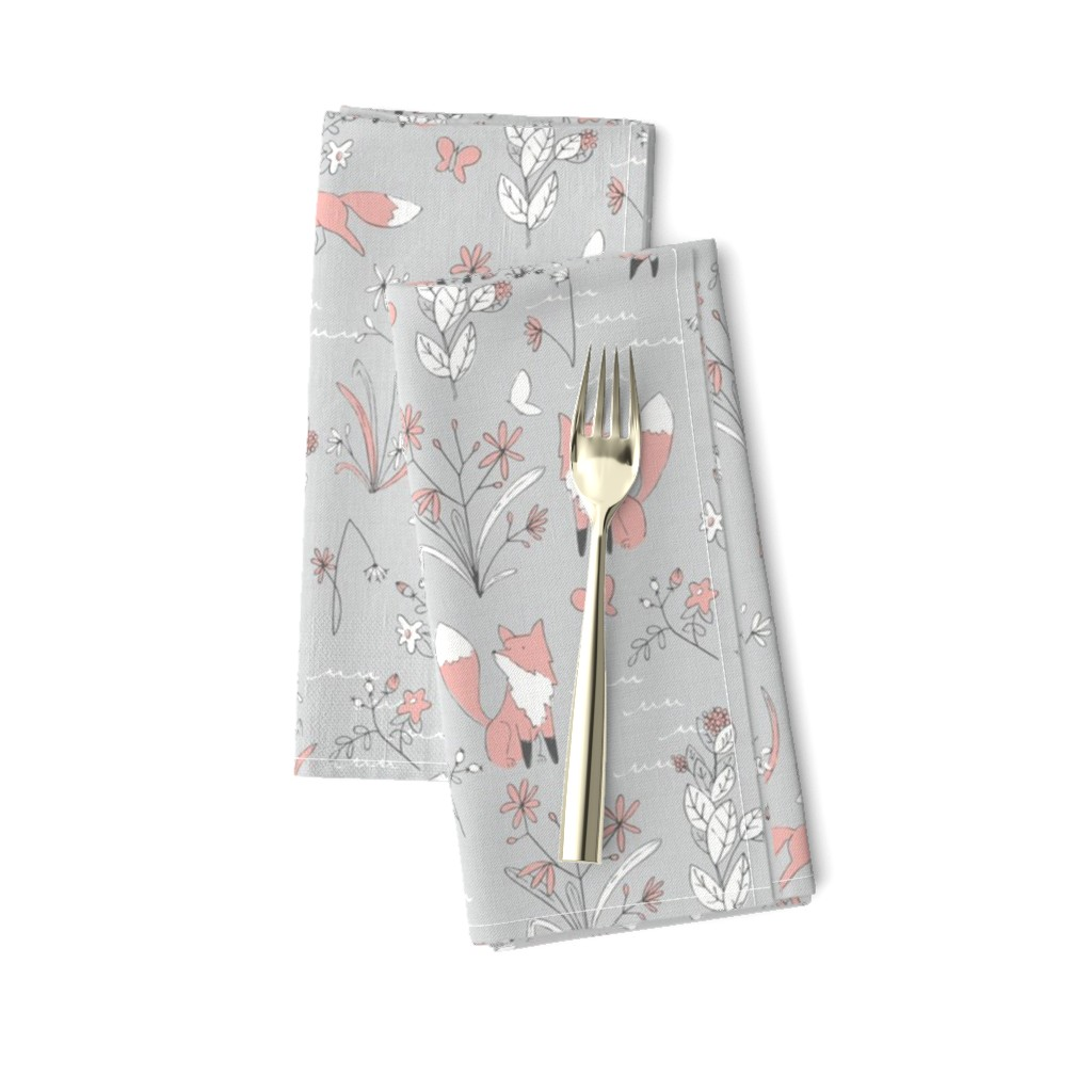 Amarela Dinner Napkins featuring Fox and Flora - Small Scale by papercanoefabricshop