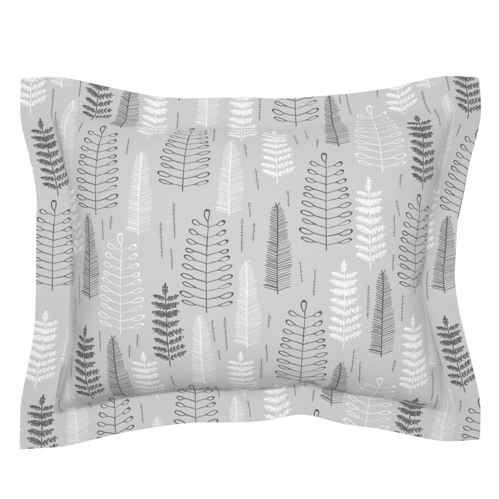 Sebright Pillow Sham featuring Ferns - large scale by papercanoefabricshop