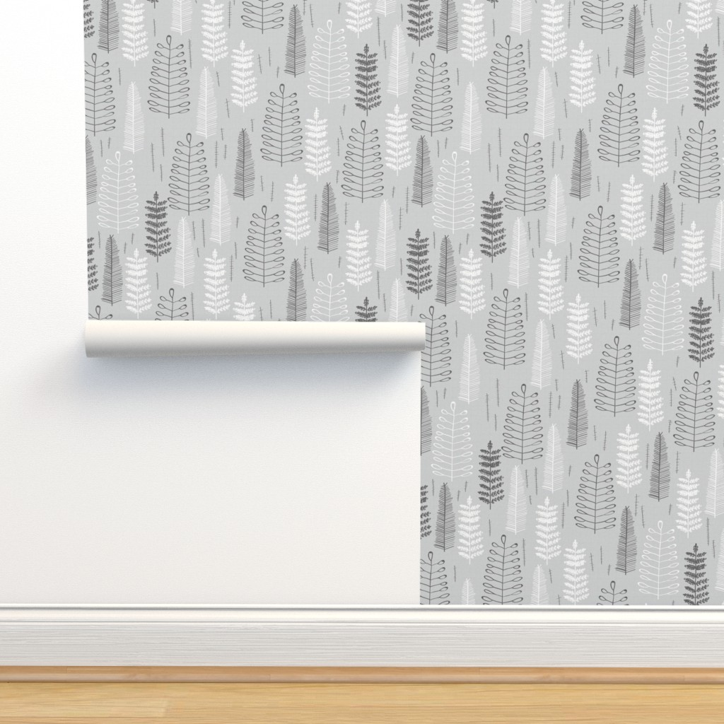 Isobar Durable Wallpaper featuring Ferns - large scale by papercanoefabricshop