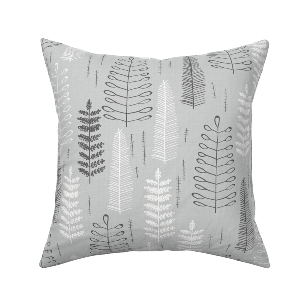 Catalan Throw Pillow featuring Ferns - large scale by papercanoefabricshop