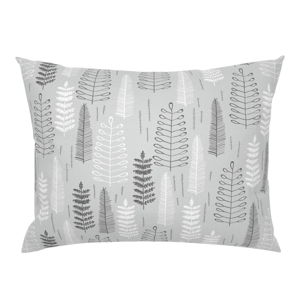 Campine Pillow Sham featuring Ferns - large scale by papercanoefabricshop