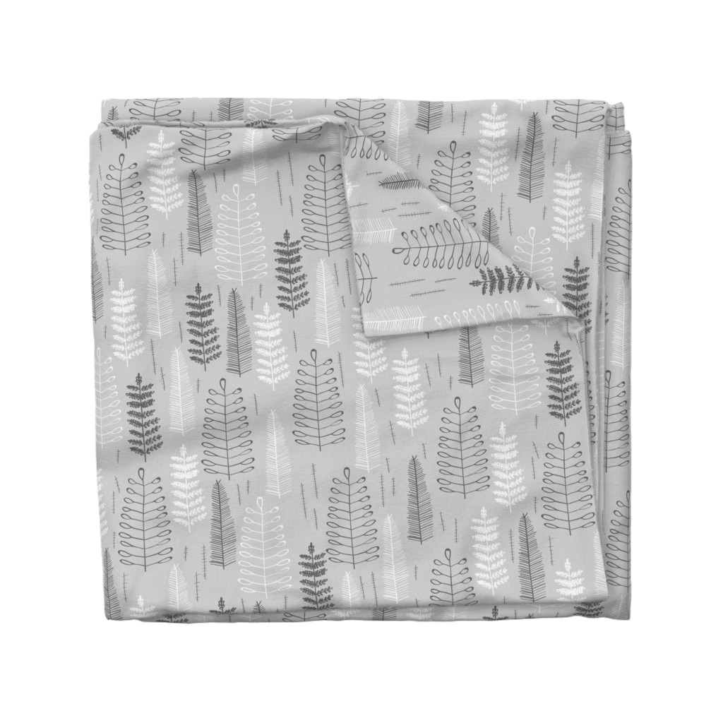 Wyandotte Duvet Cover featuring Ferns - large scale by papercanoefabricshop