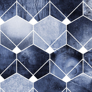 Blue Hexagons And Diamonds - Large