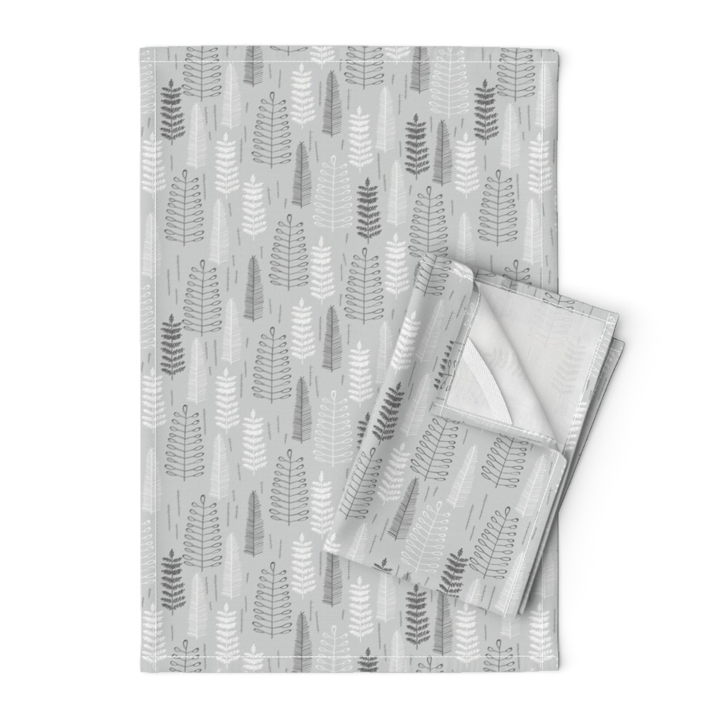 Orpington Tea Towels featuring Ferns - Small Scale by papercanoefabricshop