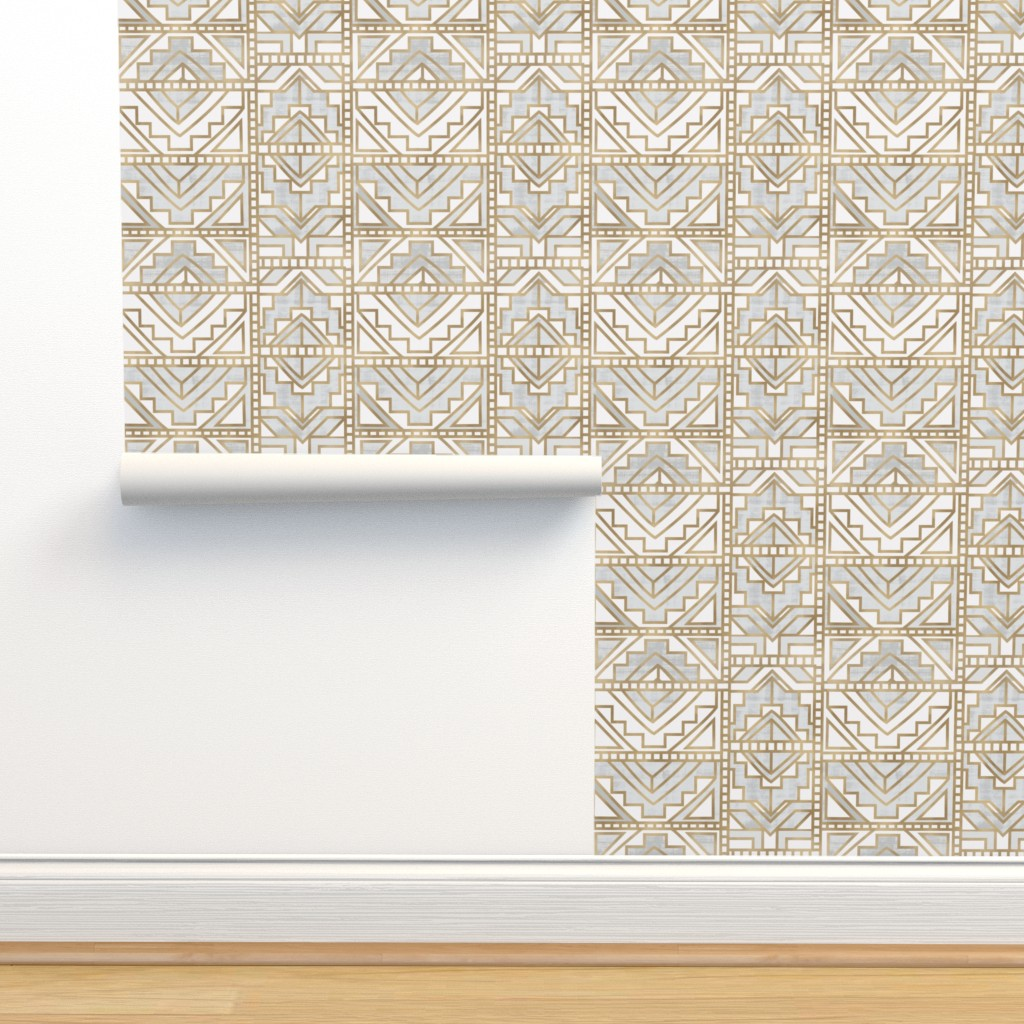 Isobar Durable Wallpaper featuring aztec-Gray by crystal_walen