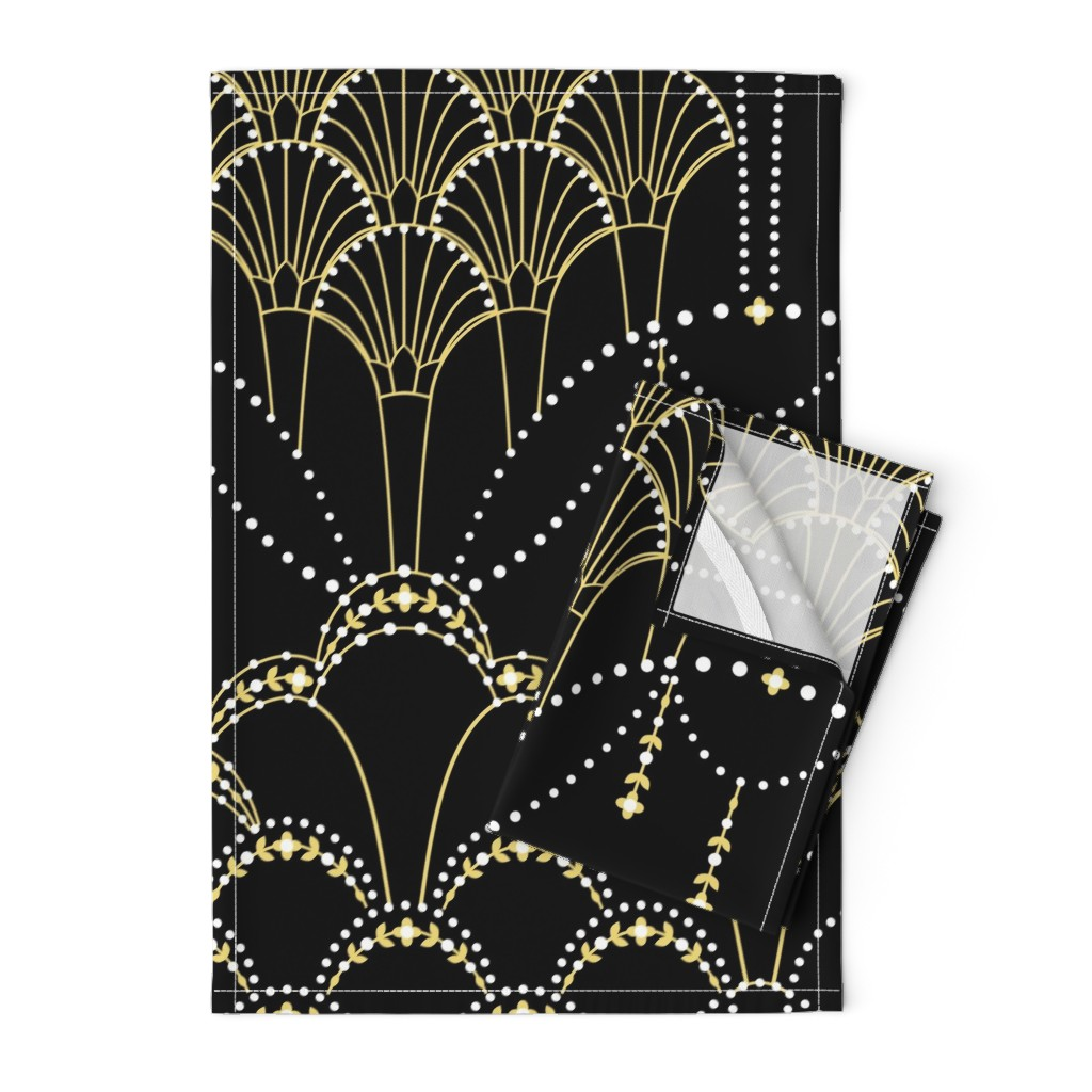 Orpington Tea Towels featuring Deco Lace black extra large by hannahshields
