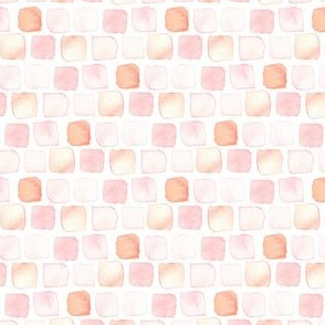 18-8AH Watercolor Blush Pink Peach Coral White Orange Dots Spots Geometric Squares Baby Girl _ Miss Chiff Designs