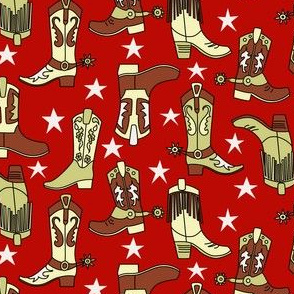 Western Boots on Red