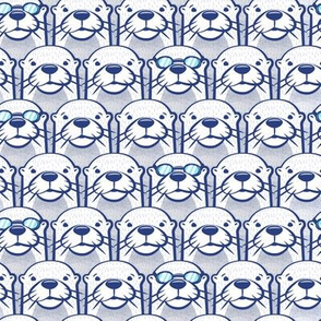 swimming otters in blue