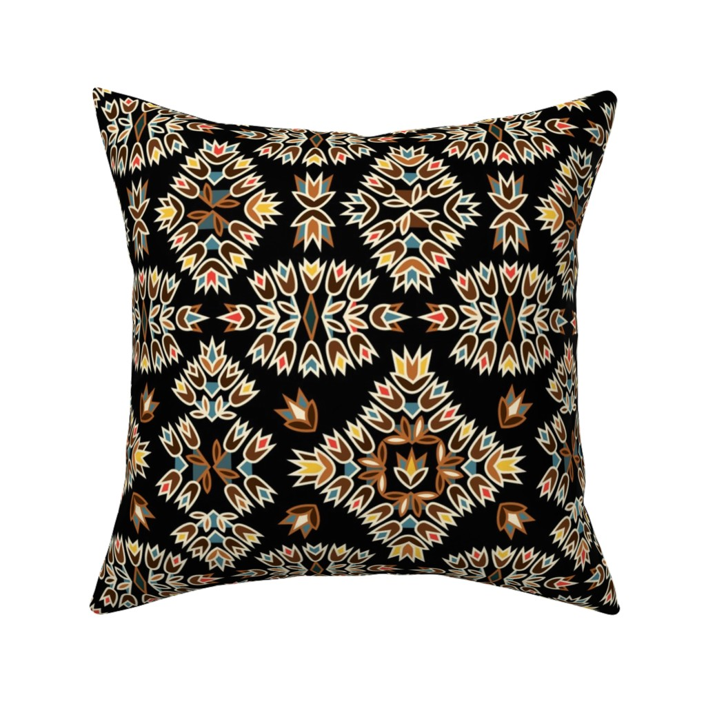 Catalan Throw Pillow featuring Jazz Blossoms Art Deco by alicefrenz