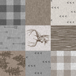 Rustic Buck Quilt - Soft Brown And grey - RO