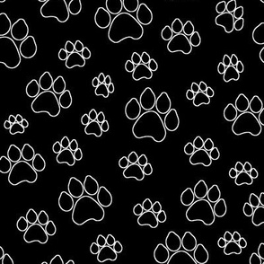 Doggy Paw Outlines - Black // Large