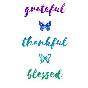 "grateful • thankful • blessed (6x9"" green-blue-violet)"
