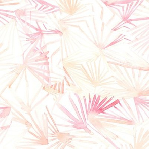 18-8AF Watercolor Abstract Leaves Foliage|| Blush Pink Peach Coral White Pastel Orange