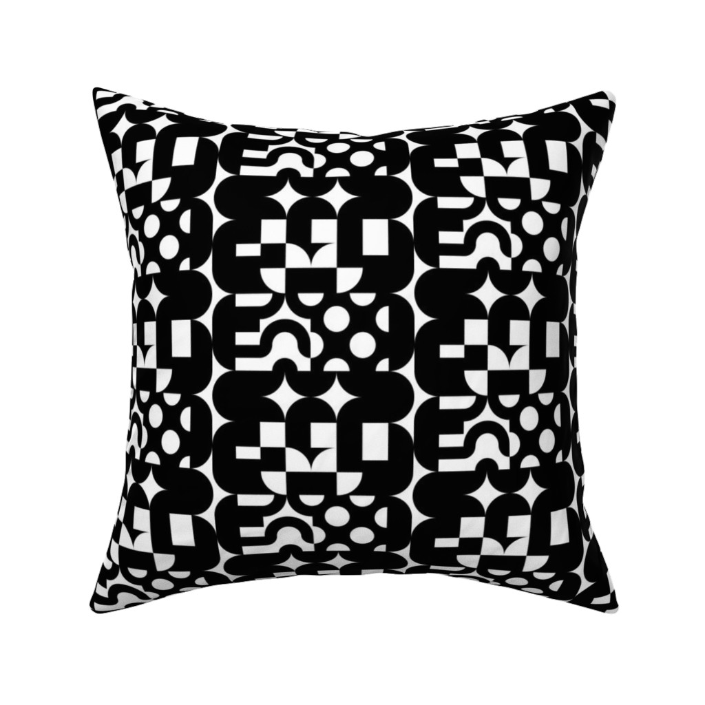 Catalan Throw Pillow featuring Black and White Deco Lonzenge by elramsay