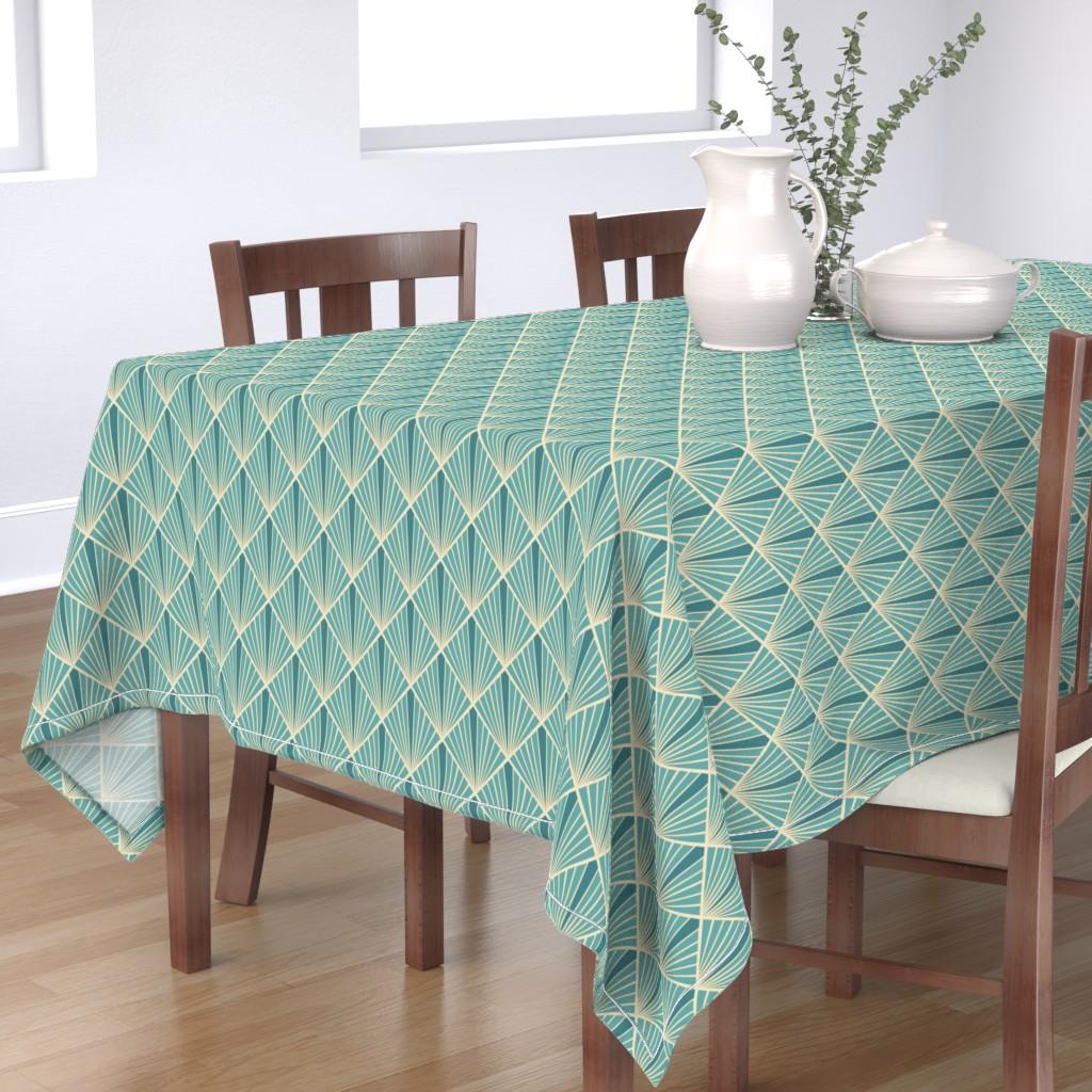 Bantam Rectangular Tablecloth featuring Art Deco Fans - Turquoise by fernlesliestudio