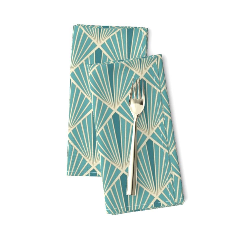 Amarela Dinner Napkins featuring Art Deco Fans - Turquoise by fernlesliestudio