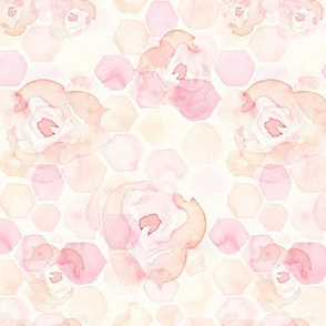 18-8AC Watercolor Abstract Hexagon Hexie  Rose || Pastel Yellow Blush Pink Peach Coral White Orange Yellow Geometric  Flower Baby Girl _ Miss Chiff Designs