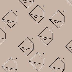 Trendy geometric tropical parrot bird abstract minimal style design gender neutral beige
