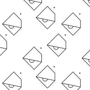 Trendy geometric tropical parrot bird abstract minimal style design monochrome black and white