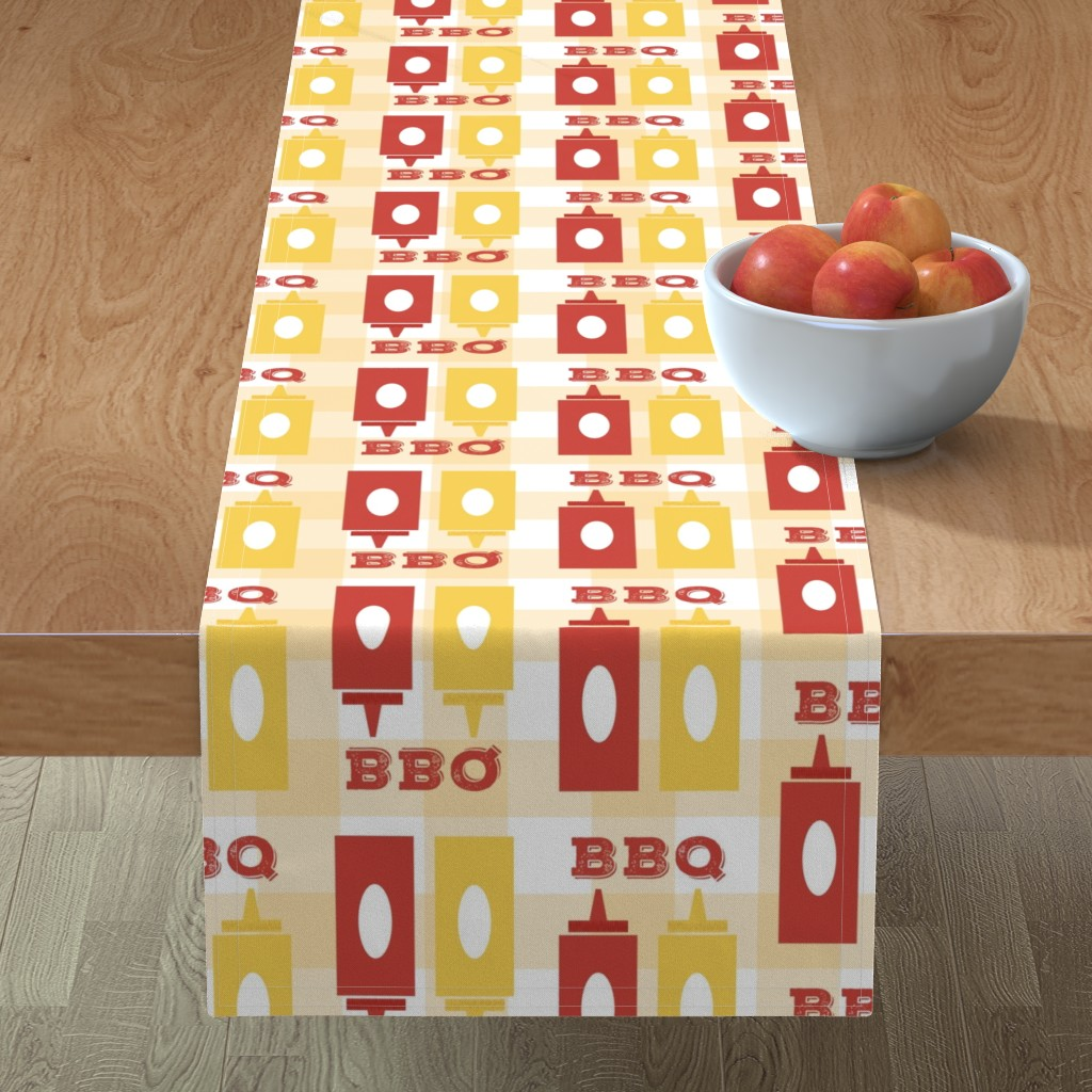 Minorca Table Runner featuring Picnic BBQ Gingham Summer Cookout Barbecue with  Ketchup and Mustard by twix