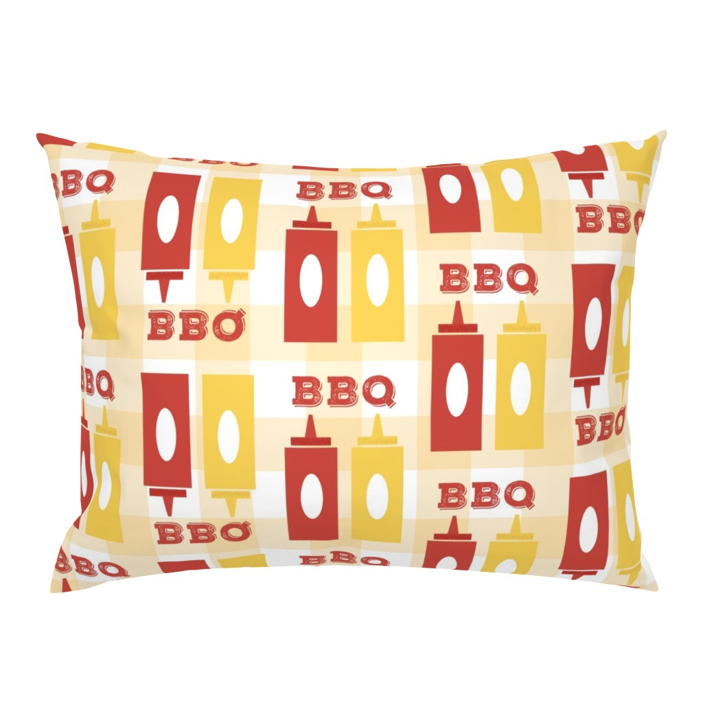 Campine Pillow Sham featuring Picnic BBQ Gingham Summer Cookout Barbecue with  Ketchup and Mustard by twix