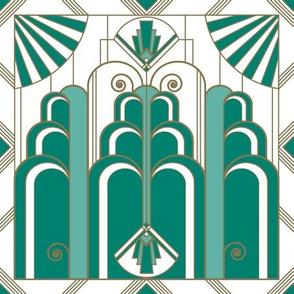 Art Deco green & gold