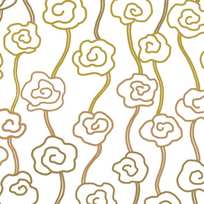 Metallic Gold Roses Large Scale