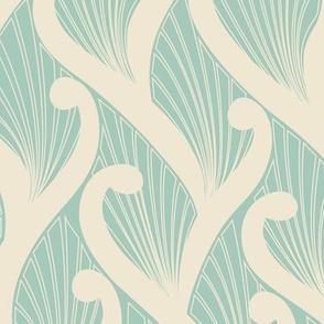 Deco Vines- Cream on Mint // art nouveau deco nature climbing vines leaves leaf fabric