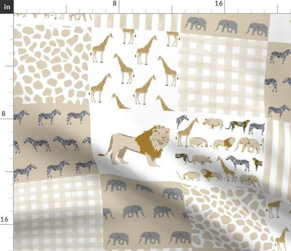 Safari Quilt Baby Neutral Lion Giraffe
