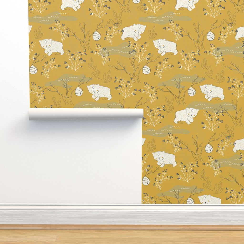 Isobar Durable Wallpaper featuring Foraging - Large Scale by papercanoefabricshop