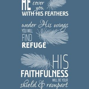 He will cover you with His feathers - white on serenity blue